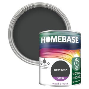 Homebase Interior Quick Dry Satin Paint - Zebra Black 750ml
