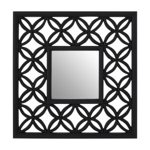 Square Black Lattice Frame Wall Mirror