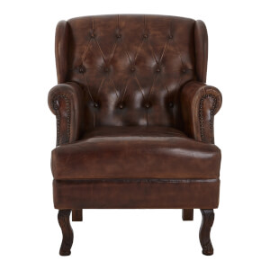 Leather Buttoned Armchair - Brown