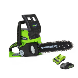 Greenworks 24V Chainsaw With 2Ah Battery Charger