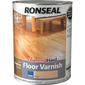 Ronseal Diamond Hard Floor Varnish - Clear Satin 5L