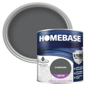 Homebase Exterior Satin Paint - Charcoal 750ml