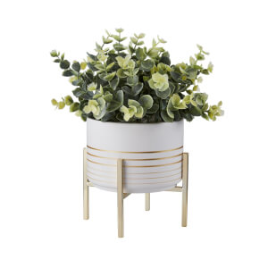 Potted Plant - White with Gold Legs