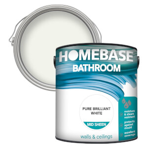 Homebase Bathroom Mid Sheen Paint - Pure Brilliant White 2.5L