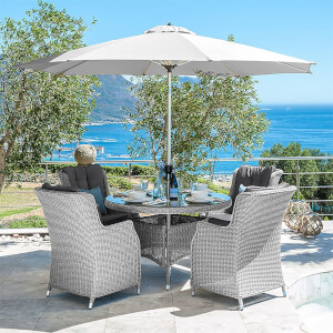 Nova Layla Rattan 4 Seater Round Dining Set in White Wash