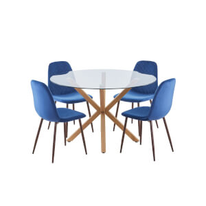 Ludlow 4 Seater Dining Set - Perth Diamond Back Dining Chairs - Navy