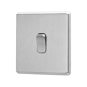Arlec Fusion 10A 1Gang 2Way Stainless Steel Single light switch