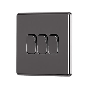 Arlec Fusion 10A 3Gang 2Way Black Nickel Triple light switch