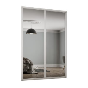 Shaker 2 Door Sliding Wardrobe Kit Mirror with White Frame (W)1449 x (H)2260mm
