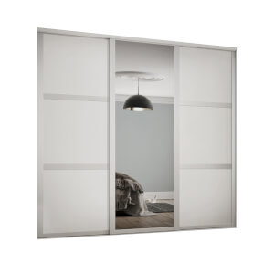 Shaker 3 Door Sliding Wardrobe Kit White Panel / Mirror with White Frame (W)2136 x (H)2260mm