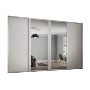 Shaker 4 Door Sliding Wardrobe Kit White Panel / Mirror with White Frame (W)3506 x (H)2260mm