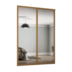 Shaker 2 Door Sliding Wardrobe Kit Mirror with Oak Frame (W)1449 x (H)2260mm