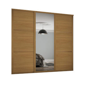 Shaker 3 Door Sliding Wardrobe Kit Oak Panel / Mirror with Oak Frame (W)2592 x (H)2260mm