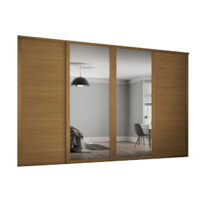 Shaker 4 Door Sliding Wardrobe Kit Oak Panel / Mirror with Oak Frame (W)2290 x (H)2260mm