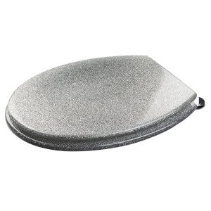 Silver Glitter Moulded Wood Toilet Seat