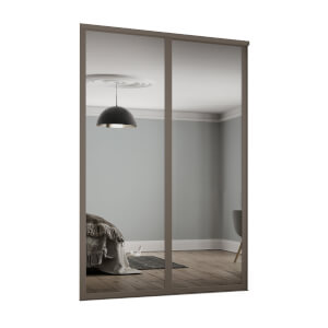Shaker 2 Door Sliding Wardrobe Kit Mirror with Stone Grey Frame (W)1145 x (H)2260mm