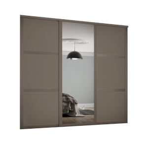 Shaker 3 Door Sliding Wardrobe Kit Stone Grey Panel / Mirror with Stone Grey Frame (W)2136 x (H)2260mm