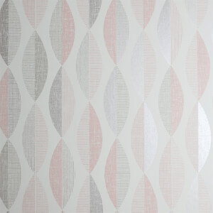Arthouse Aziza Geometric Smooth Metallic Blush Wallpaper