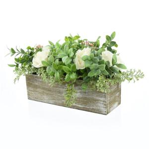 White Rose Arrangement in Wooden Box