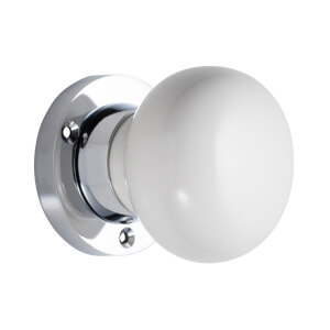 Sandleford Chawton Ceramic Mortice Knob Set - White & Polished Chrome
