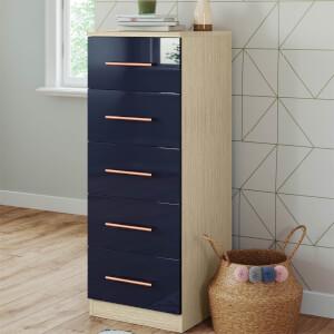 Modular Bedroom Slab 5 Drawer Chest - Navy Blue