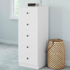 Modular Bedroom Shaker 5 Drawer Chest - White