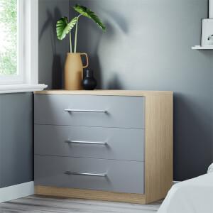 Modular Bedroom Slab 3 Drawer Chest - Grey