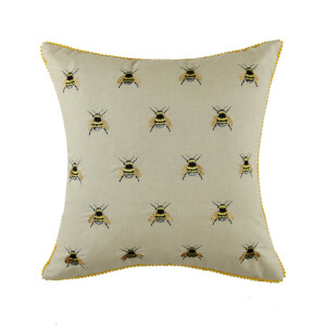 Embroidered Bumble Bee Cushion