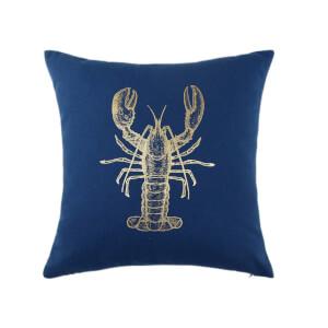 Gold Lobster Print Cushion - Navy