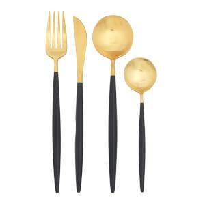 Avie Cutlery Set - Black & Gold - 16 Pieces
