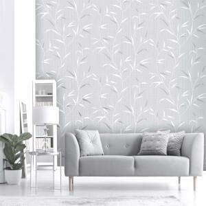 Belgravia Decor Amelie Grey Leaf Wallpaper