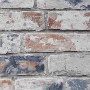 Fresco Distressed Wallpaper - Brick Navy / Red