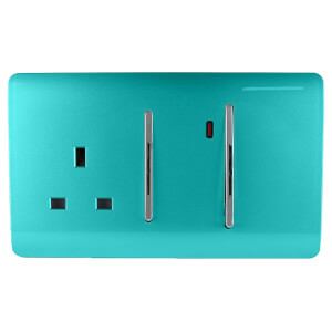 Trendi Switch 45Amp Cooker Switch & Socket in Bright Teal