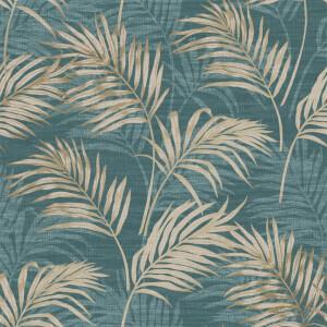 Grandeco Lounge Palm Teal Wallpaper