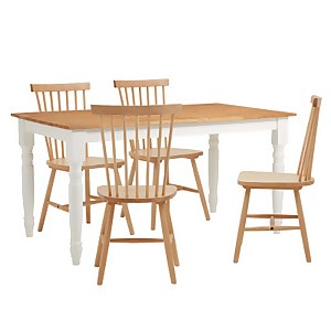 Laura 4 Seater Dining Set - Birch Spindle Chairs