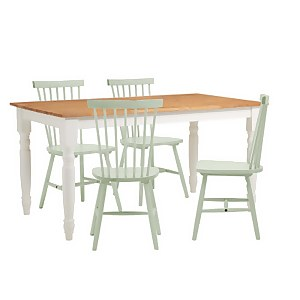 Laura 4 Seater Dining Set - Sage Green Spindle Chairs