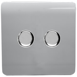 Trendi Switch Double 120 Watt LED Dimmer in Silver