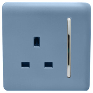 Trendi Switch 1 Gang 13Amp Switched Socket in Sky