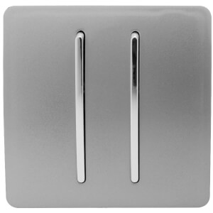Trendi Switch 2 Gang 2 Way 10Amp Light Switch in Light Grey
