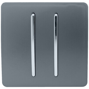 Trendi Switch 2 Gang 2 Way 10Amp Light Switch in Warm Grey