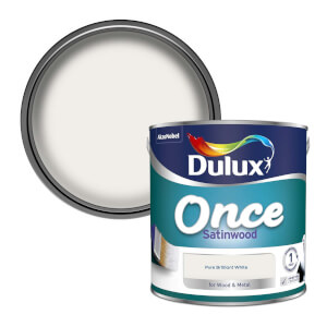 Dulux Once Pure Brilliant White - Satinwood Paint - 2.5L