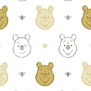 Bee Winnie the Pooh Kids Embossed Metallic Multi Coloured Wallpaper