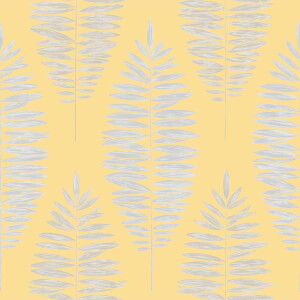 Boutique Leaf Smooth Metallic Yellow Wallpaper