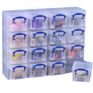 Really Useful Boxes - Clear - 0.14L - 16 Box Set