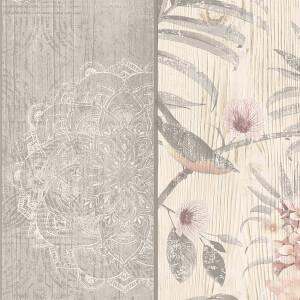 Belgravia Decor Rosa Smooth Fern Panel Blush and Grey Wallpaper