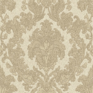Belgravia Decor San Remo Damask Textured Vinyl Glitter Natural Wallpaper