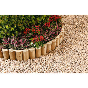 Half Round Log Softwood Edging & Border Roll - 15 x 180cm