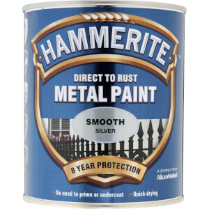 Hammerite Direct To Rust Smooth Silver Metal Paint - 750ml