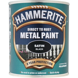 Hammerite Direct To Rust Satin Black Metal Paint - 750ml