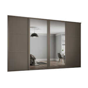 Shaker 4 Door Sliding Wardrobe Kit Stone Grey Panel / Mirror with Stone Grey Frame (W)2290 x (H)2260mm